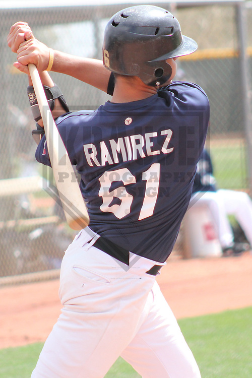 SURPRISE - March 2012: Jordan Ramirez of the Langley Blaze during a game against the Texas Rangers on March 19, 2012 at the Surprise Recreation Campus in Surprise, Arizona. (Photo by Brad Krause).
