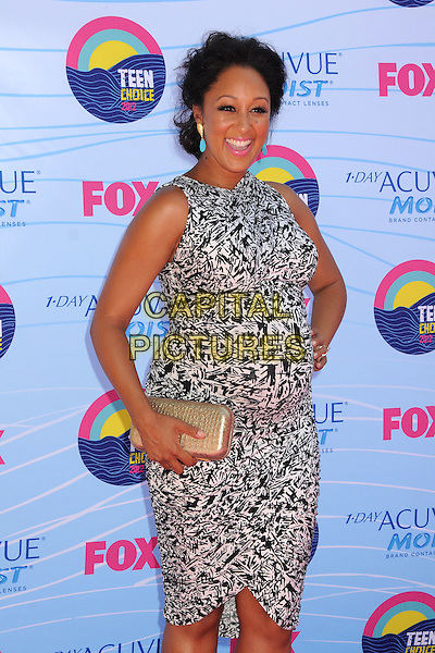 Tamera Mowry-Housley.FOX's 2012 Teen Choice Awards held at The Gibson Ampitheatre in Universal City, California, USA..July 22nd, 2012.hlaf length leopard print sleeveless pregnant gold clutch bag grey gray  hand on hip.CAP/ADM/BP.©Byron Purvis/AdMedia/Capital Pictures.