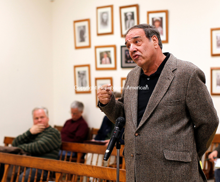 Winsted, CT- 15, November 2010-111510CM10  Winsted resident, Harry Marchell addresses the Board of Selectmen during a meeting at the Winchester Town Hall Monday night. Marchell expressed interest in purchasing the former Lambert Kay pet grooming supply factory currently owned by the town.  Christopher Massa Republican-American