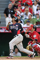 Luis Jimenez of the Los Angeles Angels organization participates in the Futures Game at Angel Stadium in Anaheim,California on July 11, 2010. Photo by Larry Goren/Four Seam Images
