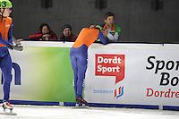 SCHAATSEN: DORDRECHT: Sportboulevard, Korean Air ISU World Cup Finale, 11-02-2012, Sjinkie Knegt NED (62) wordt na het verspelen van de winst op de 1000m getroost door teamgenoot Daan Breeuwsma NED, ©foto: Martin de Jong