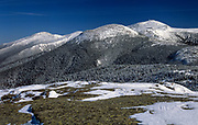 Mount Eisenhower (center); Mount Washington (behind right) and Mount Jefferson (left in back) from near the summit of Mount Pierce in the White Mountains, New Hampshire USA during the winter months.