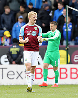 Burnley's Ben Mee celebrates at the final whistle<br /> <br /> Photographer Rich Linley/CameraSport<br /> <br /> The Premier League - Saturday 13th April 2019 - Burnley v Cardiff City - Turf Moor - Burnley<br /> <br /> World Copyright © 2019 CameraSport. All rights reserved. 43 Linden Ave. Countesthorpe. Leicester. England. LE8 5PG - Tel: +44 (0) 116 277 4147 - admin@camerasport.com - www.camerasport.com