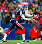 28 December 2008: Buffalo Bills' punter Brian Moorman kicks to the New England Patriots at Ralph Wilson Stadium in Orchard Park, NY. The Patriots kept their playoff hopes alive defeating the Bills 13-0 in their 16th win against Buffalo of their past 17 meetings. ***** Editorial Use Only ******..Mandatory Photo Credit: Ed Wolfstein Photo