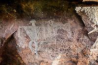 Hawaiian petroglyphs of human figures & dog, Olowalu, Maui