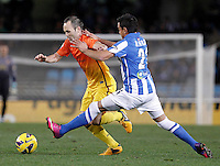 Real Sociedad's Diego Ifran (r) and FC Barcelona's Andres Iniesta during La Liga match.January 19,2013. (ALTERPHOTOS/Acero) /NortePhoto