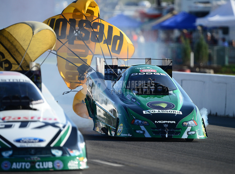 Sept. 29, 2012; Madison, IL, USA: NHRA funny car driver Todd Lesenko during qualifying for the Midwest Nationals at Gateway Motorsports Park. Mandatory Credit: Mark J. Rebilas-