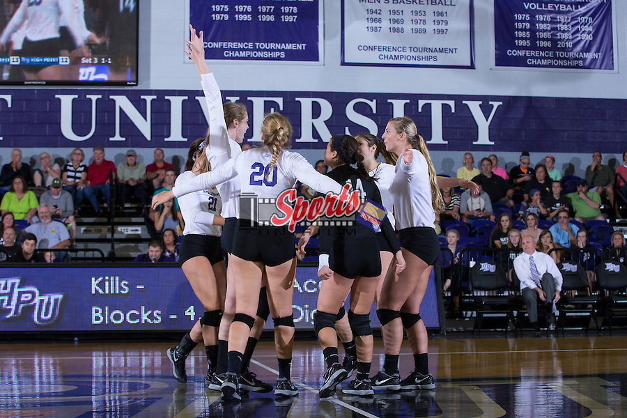 The High Point Panthers celebrate after scoring a point during the match against the Wake Forest Demon Deacons at the Panther Invitational at the Millis Athletic Center on September 12, 2015 in High Point, North Carolina.  The Demon Deacons defeated the Panthers 3-1.   (Brian Westerholt/Sports On Film)