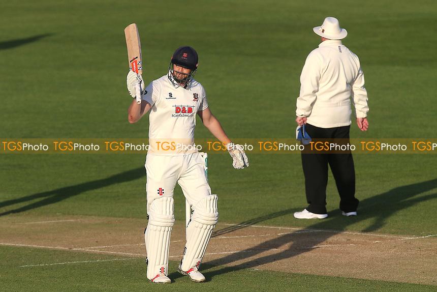 Nick Browne of Essex celebrates scoring a century, 100 runs during Essex CCC vs Durham MCCU, English MCC University Match Cricket at The Cloudfm County Ground on 3rd April 2017