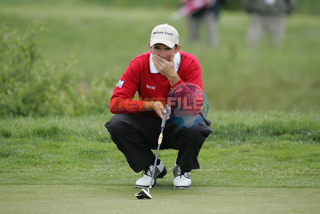 Padraig Harrington lines up his putt on the 6th green during the final round of the Irish Open on 20th of May 2007 at the Adare Manor Hotel & Golf Resort, Co. Limerick, Ireland. (Photo by Eoin Clarke/NEWSFILE))