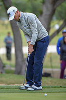 Billy Horschel (USA) watches his putt on 18 during Round 2 of the Valero Texas Open, AT&amp;T Oaks Course, TPC San Antonio, San Antonio, Texas, USA. 4/20/2018.<br /> Picture: Golffile | Ken Murray<br /> <br /> <br /> All photo usage must carry mandatory copyright credit (&copy; Golffile | Ken Murray)