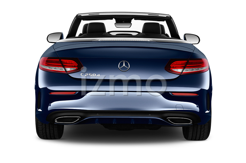 Straight rear view of 2017 Mercedes Benz C-Class AMG-Line 2 Door convertible Rear View  stock images