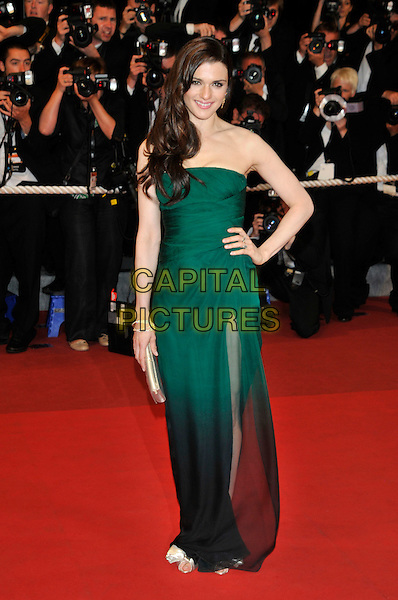 RACHEL WEISZ.'Agora' screening.62nd International Cannes Film Festival.Cannes, France. 17th May 2009.full length long maxi dress strapless green ombre two tone hand on hip sheer see through silk chiffon gold clutch bag shoes flowers roses .CAP/PL.©Phil Loftus/Capital Pictures