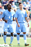 13 November 2011: North Carolina's Boyd Okwuonu (4) and Mikey Lopez (5). The University of North Carolina Tar Heels defeated the Boston College Eagles 3-1 at WakeMed Stadium in Cary, North Carolina in the Atlantic Coast Conference Men's Soccer Tournament championship game.