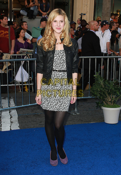 "CAROLINE SUNSHINE.World Premiere of Touchstone Pictures' ""Gnomeo & Juliet"" at the El Capitan Theatre. Los Angeles, CA, USA..January 23rd, 2011.full length black leather jacket dress leopard print tights purple suede shoes grey gray white.CAP/ADM/KB.©Kevan Brooks/AdMedia/Capital Pictures."