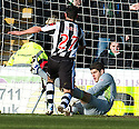 CELTIC'S FRASER FORSTER SAVES AT THE FEET OF ST MIRREN'S DOUGIE IMRIE