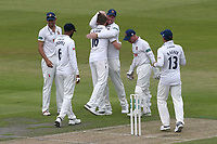 Sam Cook of Essex celebrates with his team mates after taking the wicket of dane Vilas during Lancashire CCC vs Essex CCC, Specsavers County Championship Division 1 Cricket at Emirates Old Trafford on 9th June 2018