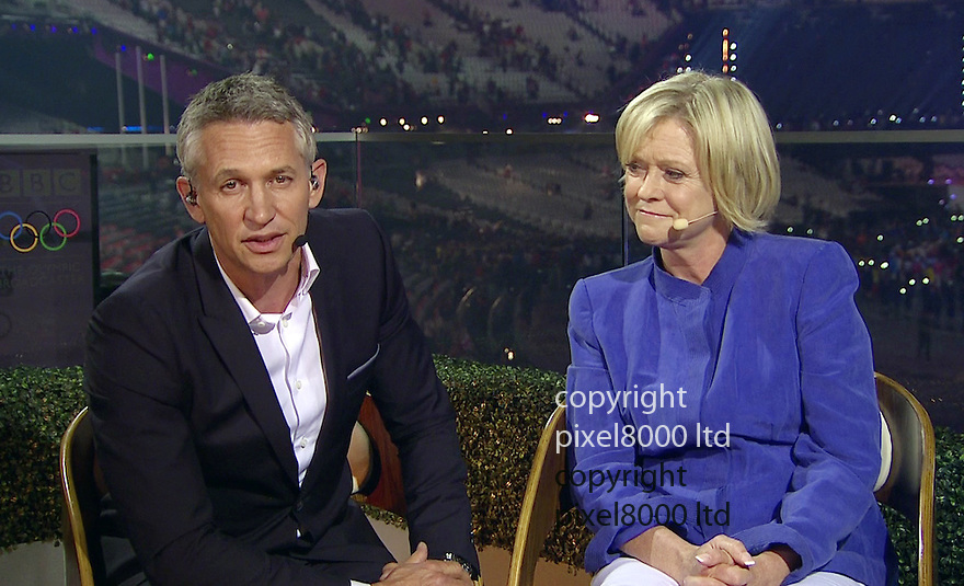 Olympics 2012 - BBC Coverage.Closing ceremony.Gary Lineker referred to Gary Barlow tragedy and called him very brave for performing  - with Sue Barker..Picture by Pixel8000 07917221968