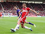 Chris Basham of Sheffield Utd in action with Ben Gibson of Middlesbrough during the Sky Bet Championship match at the Riverside Stadium, Middlesbrough. Picture date: August 12th 2017. Picture credit should read: Jamie Tyerman/Sportimage