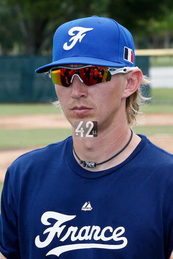19 September 2012: France Luc Piquet is seen prior to Team France friendly game won 6-3 against Palm Beach State College, during the 2012 World Baseball Classic Qualifier round, in Lake Worth, Florida, USA.
