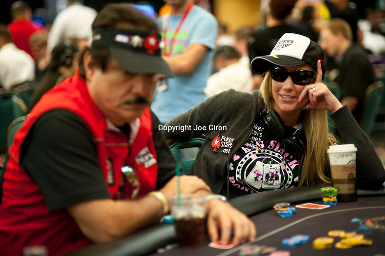 Team Pokerstars Pros Humberto Brenes and Vanessa Rousso involved in a hand.