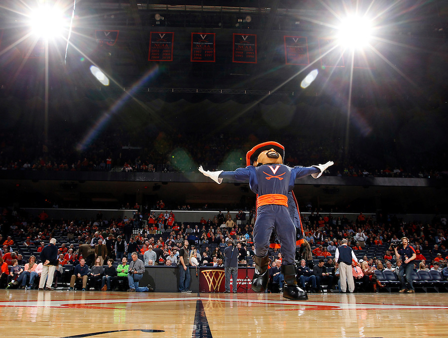 Virginia cavalier mascot during the game Saturday in Charlottesville, VA. Virginia won 65-45.