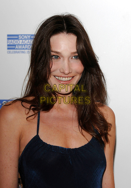 CARLA BRUNI.Attending the Sony Radio Academy Awards,.Grosvenor House Hotel, .London, England, April 30th 2007..portrait headshot blue dress.CAP/PL.©Phil Loftus/Capital Pictures