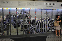 A coin locker in a railway station in Tokyo, Japan.