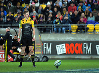 Jordie Barrett prepares to kick for goal during the Super Rugby match between the Hurricanes and Crusaders at Westpac Stadium in Wellington, New Zealand on Saturday, 15 July 2017. Photo: Dave Lintott / lintottphoto.co.nz