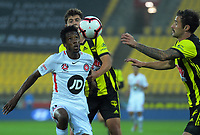 Keanu Baccus tries to control the ball during the A-League football match between Wellington Phoenix and Western Sydney Wanderers at Westpac Stadium in Wellington, New Zealand on Saturday, 3 November 2018. Photo: Dave Lintott / lintottphoto.co.nz