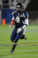 22 November 2008:  FIU wide receiver Junior Mertile (2) carries the ball in the ULM 31-27 victory over FIU at FIU Stadium in Miami, Florida.