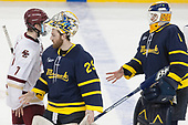 Connor Moore (BC - 7), Craig Pantano (Merrimack - 29), Collin Delia (Merrimack - 1) - The visiting Merrimack College Warriors defeated the Boston College Eagles 6 - 3 (EN) on Friday, February 10, 2017, at Kelley Rink in Conte Forum in Chestnut Hill, Massachusetts.