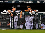 12 September 2008: Cleveland Indians' infielder Jamey Carroll (left) and outfielder Shin-Soo Choo (right) look out from the dugout during a game against the Kansas City Royals at Progressive Field in Cleveland, Ohio. The Indians defeated the Royals 12-5 in the first game of their 4-game series...Mandatory Photo Credit: Ed Wolfstein Photo
