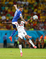 Jose Cholevas of Greece and Joel Campbell of Costa Rica in action