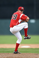 Batavia Muckdogs pitcher Christian MacDonald (39) delivers a pitch during a game against the Jamestown Jammers on July 7, 2014 at Dwyer Stadium in Batavia, New York.  Batavia defeated Jamestown 9-2.  (Mike Janes/Four Seam Images)