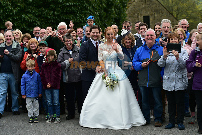 The race passes by a wedding during Stage 3 of the Tour de Yorkshire 2017 running 194.5km from Bradford/Fox Valley to Sheffield, England. 30th April 2017. <br /> Picture: ASO/P.Ballet   Cyclefile<br /> <br /> <br /> All photos usage must carry mandatory copyright credit (&copy; Cyclefile   ASO/P.Ballet)