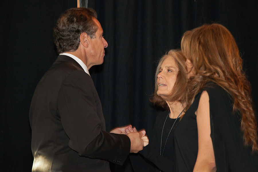 Gloria Steinem speaks with Governor Andrew Cuomo at the NoVo Foundation Press Announcement with Governor Cuomo for The Women's Building, New York, NY on October 26, 2015