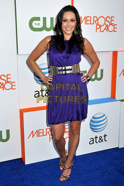 "LAURA SALTMAN.""Melrose Place"" Premiere Party held on Melrose Place, West Hollywood, CA, USA..August 22nd, 2009.full length purple dress sleeveless hands on hips silver belt .CAP/ADM/BP.©Byron Purvis/AdMedia/Capital Pictures."