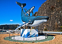 Large Statue of mother whale with calf in Kochi Japan.