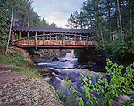 Amnicon Falls State Park, WI<br /> Covered bridge over the Amnicon River, summer.