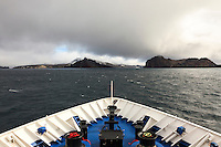 Sailing towards the mouth of Port Foster, called Neptune's Bellows.  Port Foster is the large bay in the center of the volcanic caldera that forms Deception Island, in the South Shetland Islands near the Antarctic Peninsula.