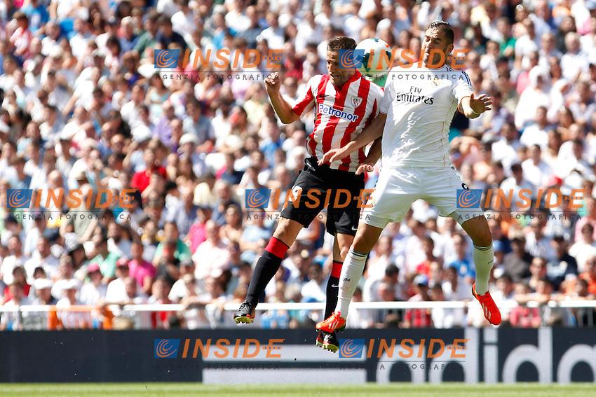 Real Madrid's Benzema (R) and Athletic Club's Gurpegui during La Liga Match. September 01, 2013. (ALTERPHOTOS/Caro Marin) <br /> Football Calcio 2013/2014<br /> La Liga Spagna<br /> Foto Alterphotos / Insidefoto <br /> ITALY ONLY