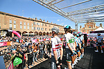 Israel Cycling Academy at sign on before Stage 11 of the 2019 Giro d'Italia, running 221km from Carpi to Novi Ligure, Italy. 22nd May 2019<br /> Picture: Massimo Paolone/LaPresse | Cyclefile<br /> <br /> All photos usage must carry mandatory copyright credit (© Cyclefile | Massimo Paolone/LaPresse)