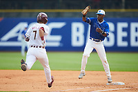 Duke Blue Devils first baseman Jalen Phillips (22) makes the putout as Steven Wells, Jr. (7) of the Florida State Seminoles hustles down the line in the first semifinal of the 2017 ACC Baseball Championship at Louisville Slugger Field on May 27, 2017 in Louisville, Kentucky. The Seminoles defeated the Blue Devils 5-1. (Brian Westerholt/Four Seam Images)
