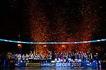 28.10.2018, TUI Arena, Hannover<br />Volleyball, Supercup, Siegerehrung<br /><br />Sieger Supercup 2018: SSC Palmberg Schwerin (Frauen) - VfB Friedrichshafen (Maenner) / Konfetti<br /><br />  Foto © nordphoto / Kurth