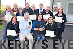 Pictured at the presentation of certificates for the Community Folklore recording training in Sean Scoil, KIllorglin on Friday were Tracey Spencer, Johnny O'Connor, Una Cosgrave, Ciara Irwin Foley, Patsy O'Sullivan, Mortimer Moriarty, Sheila Burns, Michael Morris, Mike Foley, Nick Moloney, Terence Houlihan, Tom Horgan and Josie O'Donnell.