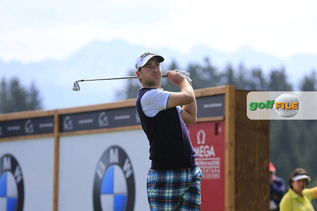 Daniel Brooks (ENG) tees off the 11th tee during Thursday's Round 1 of the 2014 Omega European Masters held at the Crans Montana Golf Club, Crans-sur-Sierre, Switzerland.: Picture Eoin Clarke, www.golffile.ie: 4th September 2014