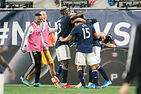 FOXBOROUGH, MA - SEPTEMBER 29: New England players celebrate their goal during a game between New York City FC and New England Revolution at Gillettes Stadium on September 29, 2019 in Foxborough, Massachusetts.