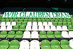 """Transparent """"Wir glauen dran"""" im Wohninvest Weserstadion""""<br /> Bremen, 27.06.2020, Fussball Bundesliga, SV Werder Bremen - 1. FC Koeln<br /> Foto: VWitters/Witters/Pool//via gumzmedia/nordphoto<br />  DFL REGULATIONS PROHIBIT ANY USE OF PHOTOGRAPHS AS IMAGE SEQUENCES AND OR QUASI VIDEO<br /> EDITORIAL USE ONLY<br /> NATIONAL AND INTERNATIONAL NEWS AGENCIES OUT"""