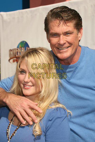 "HAYLEY HASSELHOFF & DAVID HASSELHOFF.""Evan Almighty"" Los Angeles Premiere at Universal City Walk, Universal City, California, USA..June 10th, 2007.half length father daughter family arm over shoulder blue watch hand brown beads beaded necklace .CAP/ADM/BP.©Byron Purvis/AdMedia/Capital Pictures"